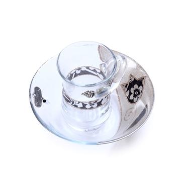 """תמונה של סט מים אחרונים קטן מזכוכית """"פרחים"""" (שחור) - לילי אומנות"""