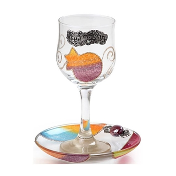 """תמונה של גביע קידוש מזכוכית """"רימונים"""" (צבעוני) - לילי אומנות"""