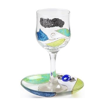 """תמונה של גביע קידוש מזכוכית """"פרחים"""" (כחול) - לילי אומנות"""