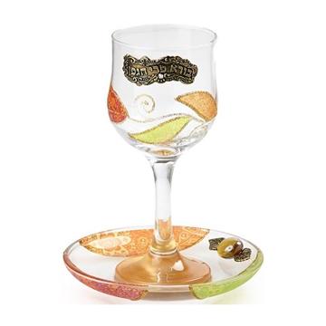 """תמונה של גביע קידוש מזכוכית """"פרחים"""" (אדום) - לילי אומנות"""