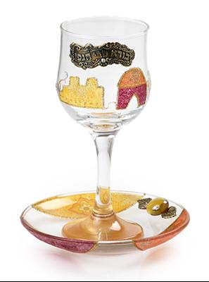 """תמונה של גביע קידוש מזכוכית """"ירושלים העתיקה"""" (אדום) - לילי אומנות"""