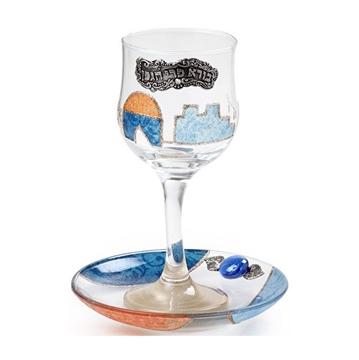 """תמונה של גביע קידוש מזכוכית """"ירושלים העתיקה"""" (כחול) - לילי אומנות"""