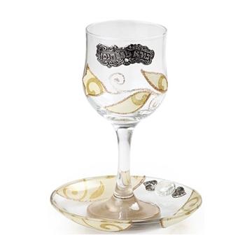 """תמונה של גביע קידוש מזכוכית """"פרחים"""" (לבן) - לילי אומנות"""