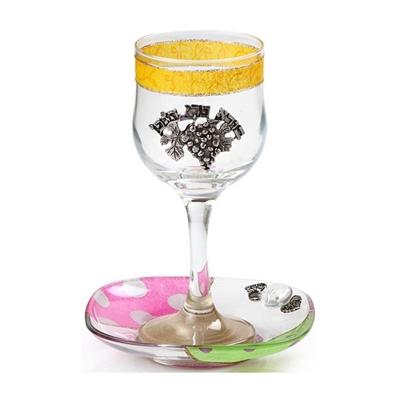 """תמונה של גביע קידוש מזכוכית """"גפן"""" (צבעוני) - לילי אומנות"""