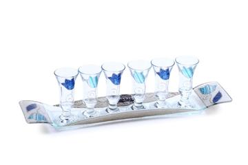 """תמונה של סט יין מלבני """"פרחים"""" (כחול) - לילי אומנות"""