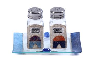 """תמונה של סט מלחיות לשבת עם מגשון """"ירושלים העתיקה"""" (כחול) - לילי אומנות"""