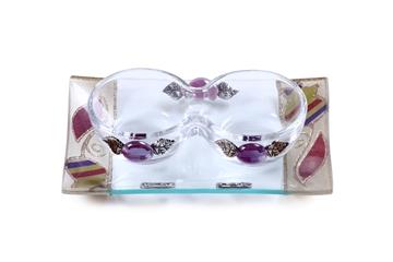 """תמונה של סט פמוטים לשבת מזכוכית טי-לייט עם מגש """"פרח"""" (צבעוני) - לילי אומנות"""