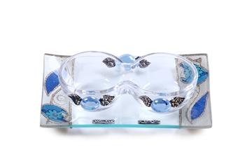 """תמונה של סט פמוטים לשבת מזכוכית טי-לייט עם מגש """"פרח"""" (כחול) - לילי אומנות"""