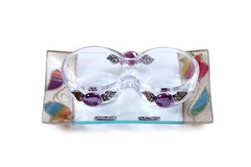 """תמונה של סט פמוטים לשבת מזכוכית טי-לייט עם מגש """"פרח"""" (קשת) - לילי אומנות"""