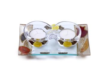 """תמונה של סט פמוטים לשבת מזכוכית טי-לייט עם מגש """"פרח"""" (אדום) - לילי אומנות"""