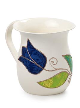 """תמונה של נטלה בינונית """"פרחים"""" (כחול) - לילי אומנות"""