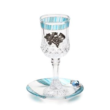 """תמונה של גביע קידוש מקריסטל """"גפן"""" (תכלת) - לילי אומנות"""