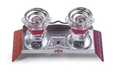 תמונה של פמוטים מקריסטל עם מגש לייזר קטן (אדום) - לילי אומנות