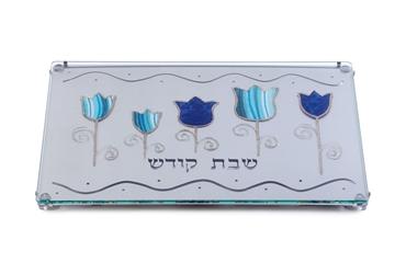 """תמונה של מגש לחלה ממתכת חתוכה בלייזר """"פרחים"""" (כחול) - לילי אומנות"""
