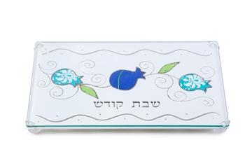 """תמונה של מגש לחלה שמנת ממתכת חתוכה בלייזר """"רימונים"""" (כחול) - לילי אומנות"""
