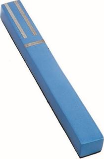תמונה של בית מזוזה מרובע מאלומיניום חתוך בלייזר עם פסים (כחול) - יאיר עמנואל