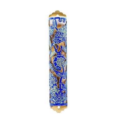 """תמונה של בית מזוזה ממתכת חתוכה בלייזר """"פרחים"""" (כחול) - יאיר עמנואל"""