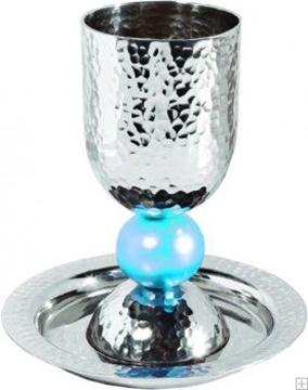 תמונה של גביע קידוש מאלומיניום מוכסף עם תחתית (טורקיז) - יאיר עמנואל