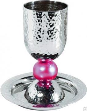 תמונה של גביע קידוש מאלומיניום מוכסף עם תחתית (אדום) - יאיר עמנואל