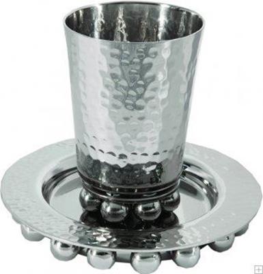 תמונה של גביע קידוש מאלומיניום עם תחתית וחרוזים (כסף) - יאיר עמנואל