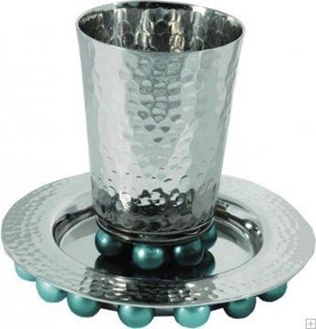 תמונה של גביע קידוש מאלומיניום עם תחתית וחרוזים (טורקיז) - יאיר עמנואל