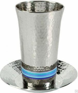 תמונה של גביע קידוש מניקל עם תחתית חמישה צבעים (כחול) - יאיר עמנואל
