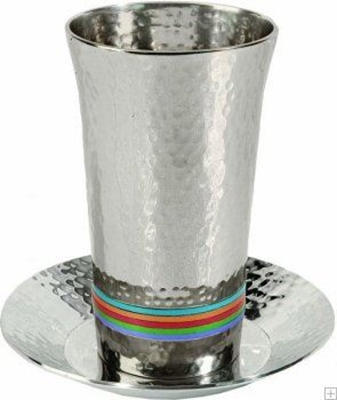 תמונה של גביע קידוש מניקל עם תחתית חמישה צבעים (צבעוני) - יאיר עמנואל