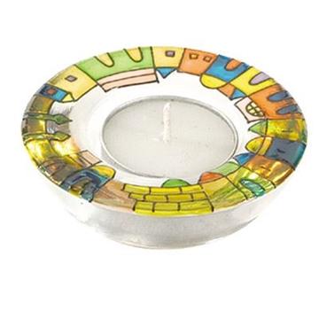 """תמונה של זוג פמוטים עגולים מזכוכית צבועה """"ירושלים העתיקה"""" - יאיר עמנואל"""