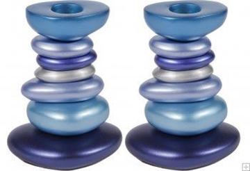 תמונה של זוג פמוטים לשבת מאלומיניום מגדל אבנים (כחול) - יאיר עמנואל