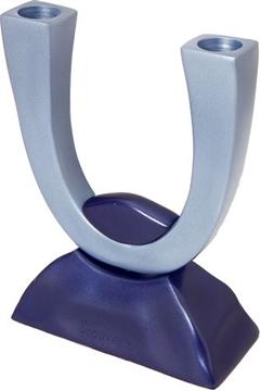 תמונה של זוג פמוטים לשבת מאלומיניום קרניים (כחול) - יאיר עמנואל