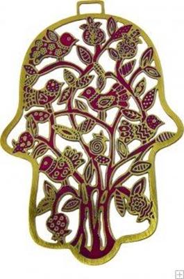 """תמונה של חמסה מאלומיניום בחיתוך לייזר צבועה ביד """"עץ ציפורים"""" (אדום) - יאיר עמנואל"""