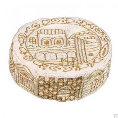 """תמונה של כובע רקום בעבודת יד """"ירושלים העתיקה"""" (זהב) - יאיר עמנואל"""