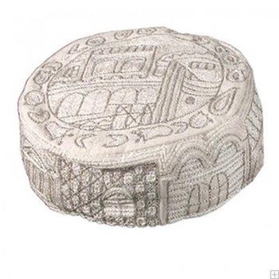 """תמונה של כובע רקום בעבודת יד """"ירושלים העתיקה"""" (כסף) - יאיר עמנואל"""