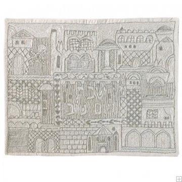 """תמונה של כיסוי חלה ממשי עם ריקמה בעבודת יד """"ירושלים העתיקה"""" (כסף) - יאיר עמנואל"""