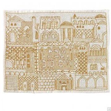 """תמונה של כיסוי חלה ממשי עם ריקמה בעבודת יד """"ירושלים העתיקה"""" (זהב) - יאיר עמנואל"""