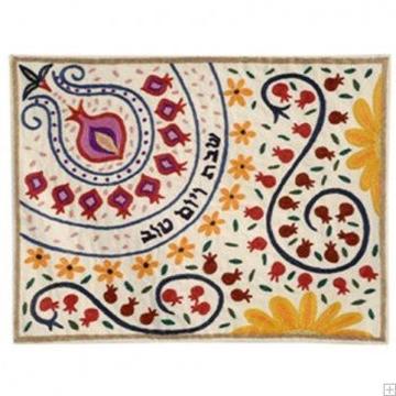 """תמונה של כיסוי חלה ממשי עם ריקמה בעבודת יד """"רימונים ופרחים"""" - יאיר עמנואל"""