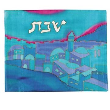 """תמונה של כיסוי חלה ממשי צבוע """"נוף ירושלים"""" (כחול) - יאיר עמנואל"""