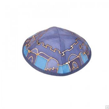 """תמונה של כיפה ממשי צבוע """"ירושלים העתיקה"""" (כחול) - יאיר עמנואל"""