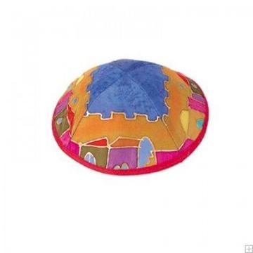 """תמונה של כיפה ממשי צבוע """"ירושלים העתיקה"""" (צבעוני) - יאיר עמנואל"""