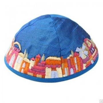 """תמונה של כיפה רקומה """"ירושלים העתיקה"""" (כחול) - יאיר עמנואל"""