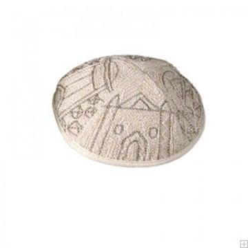 """תמונה של כיפה רקומה בעבודת יד """"ירושלים העתיקה"""" (כסף) - יאיר עמנואל"""