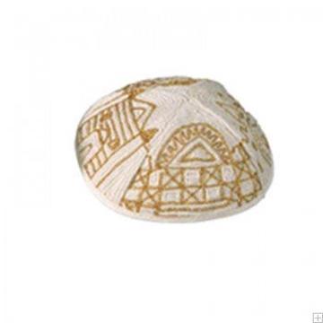 """תמונה של כיפה רקומה בעבודת יד """"ירושלים העתיקה"""" (זהב) - יאיר עמנואל"""