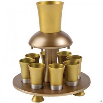 תמונה של מזרקת יין לקידוש מאלומיניום (זהב) - יאיר עמנואל