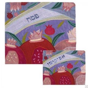 """תמונה של סט כיסוי מצה ואפיקומן ממשי פראי """"רימונים כתר"""" (כחול) - יאיר עמנואל"""
