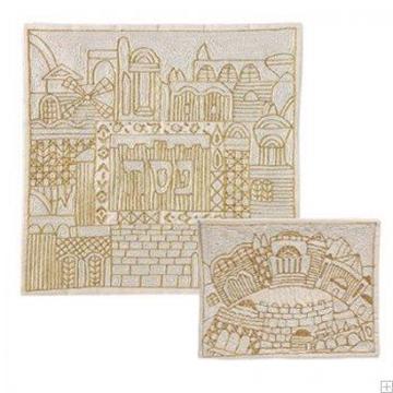 """תמונה של סט כיסוי מצה ואפיקומן ממשי רקום """"ירושלים העתיקה"""" (זהב) - יאיר עמנואל"""
