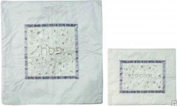 """תמונה של סט כיסוי מצה ואפיקומן ממשי רקום """"רימונים וגפנים"""" (לבן) - יאיר עמנואל"""