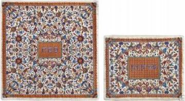 תמונה של סט כיסוי מצה ואפיקומן ממשי רקום בסגנון אוריינטלי (כתום) - יאיר עמנואל