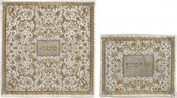 תמונה של סט כיסוי מצה ואפיקומן ממשי רקום בסגנון אוריינטלי (אפור) - יאיר עמנואל