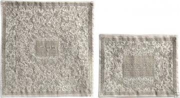 תמונה של סט כיסוי מצה ואפיקומן ממשי רקום בסגנון אוריינטלי (כסף) - יאיר עמנואל