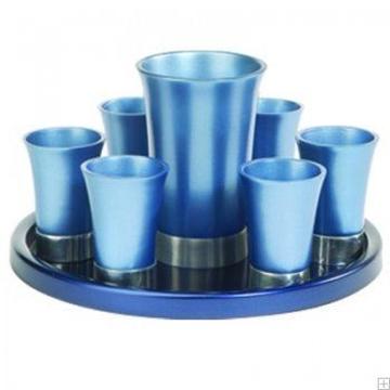 תמונה של סט קידוש מאלומיניום - גביע + 6 כוסות + מגש (כחול) - יאיר עמנואל